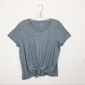 Madewell Short Sleeve Tie Up Knot Gray Top